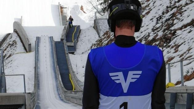 Florian Danner vor seinem Sprung von der 45-Meter-Schanze in Planica. (Bild: Florian Danner)