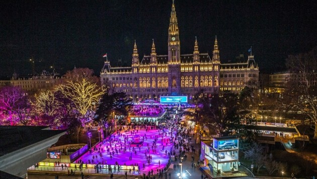 """Der """"Wiener Eistraum"""" vor dem Rathaus wurde von der AST mitentwickelt. (Bild: AST)"""