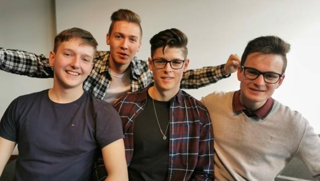 Maximilian Kaindl, Gregor Rechberger, Julian Richtsfeld und Matthias Hofmacher (von links) überzeugten die Jury. (Bild: Barbara Kneidinger)
