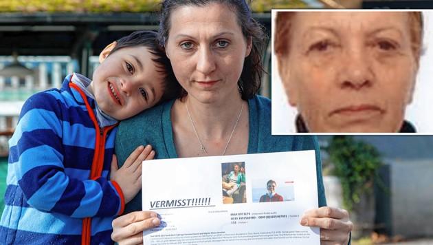 Ilke Quaglia mit ihrem kleinen Sohn. Rechts oben: Ein Foto der vermissten 67-Jährigen. (Bild: Markus Tschepp, krone.at-Grafik)