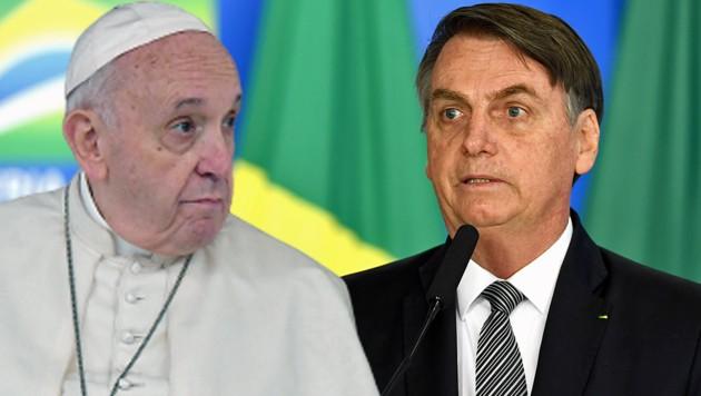 Der Amazonas ist offenbar ein wunder Punkt für Brasiliens Präsidenten Jair Bolsonaro. Auf einen Tweet von Papst Franziskus reagierte der Staatschef ziemlich erbost. (Bild: APA/AFP/Tiziana FABI, APA/AFP/EVARISTO SA, krone.at-Grafik)
