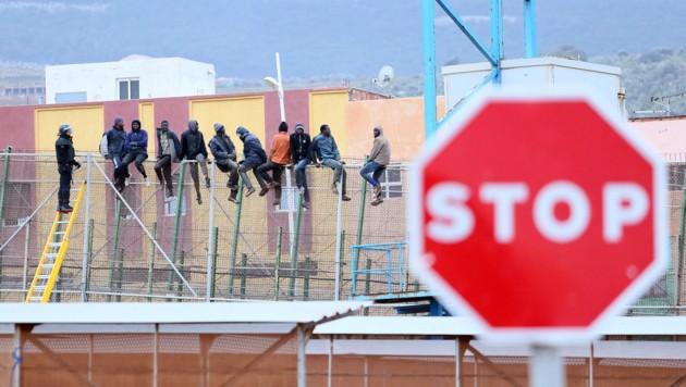 Migranten, die beim Versuch den Grenzzaun der spanischen Exklave Melilla zu überwinden, gefasst worden sind (Bild: AFP)