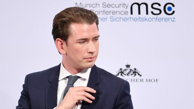 Bundeskanzler Sebastian Kurz bei der Münchner Sicherheitskonferenz (Bild: APA/dpa/Tobias Hase)