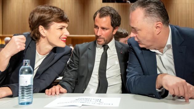 Rendi-Wagner, Dornauer, Doskozil (Bild: APA/EXPA/JOHANN GRODER)