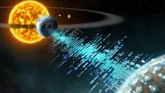 Eine künstlerische Illustration einer nahe gelegenen Zivilisation, die Signale an die Erde sendet (Bild: UC Berkeley image courtesy of Breakthrough Listen)