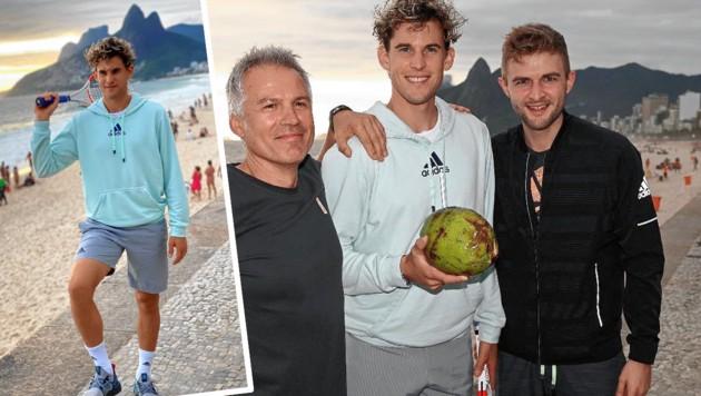 """Dominic Thiem beim coolen Fotoshooting an der Copacabana mit seinem deutschen """"Physio-Guru"""" Alex Stober (links) und seinem Jugend-Kumpel Lucas Leitner (re.). (Bild: Lucas Leitner, zVg)"""