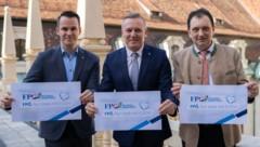Stefan Hermann, Mario Kunasek und Anton Kogler (Bild: FPÖ Steiermark/Wallner)