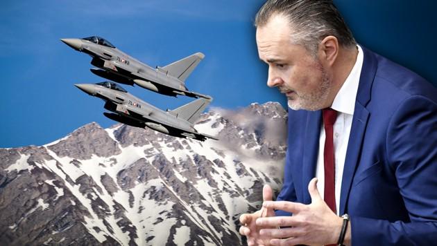 Die Ermittlungen wegen der vom früheren Verteidigungsminister Hans Peter Doskozil (SPÖ) eingebrachten Betrugsanzeige in der Causa Eurofighter sollen offenbar eingestellt werden. (Bild: APA/ROBERT JAEGER, APA/BUNDESHEER/HÖRL, krone.at-Grafik)