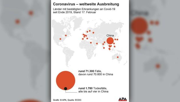 Länder mit bestätigten Infektionen (Bild: APA)