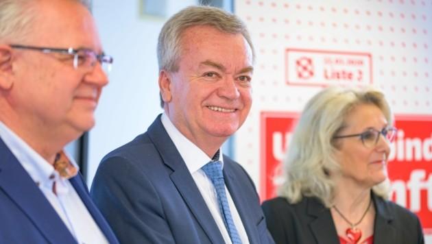 SP-Landesgeschäftsführer Günter Pirker, Landeshauptmann-Stellvertreter Anton Lang und Bürgermeisterin Roswitha Glashüttner (Liezen) (Bild: Patrick Neves/SPÖ Steiermark)