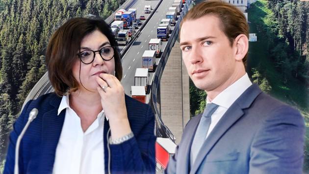 """Die Aussage der EU-Kommissarin Adina Valean, dass Tirol bzw. Österreich den Binnenmarkt verlassen könne, wenn es nicht bereit sei, von den Lkw-Fahrverboten abzurücken, empfindet Kanzler Kurz als """"ungeheuerlich"""". (Bild: Cristof Birbaumer, AFP, APA/EXPA, krone.at-Grafik)"""