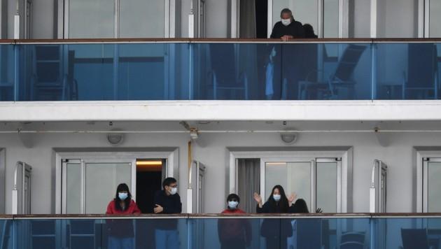 Passagiere auf dem Kreuzfahrtschiff Diamond Princess (Bild: AFP)