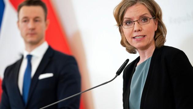 Gernot Blümel und Leonore Gewessler (Bild: APA/GEORG HOCHMUTH)