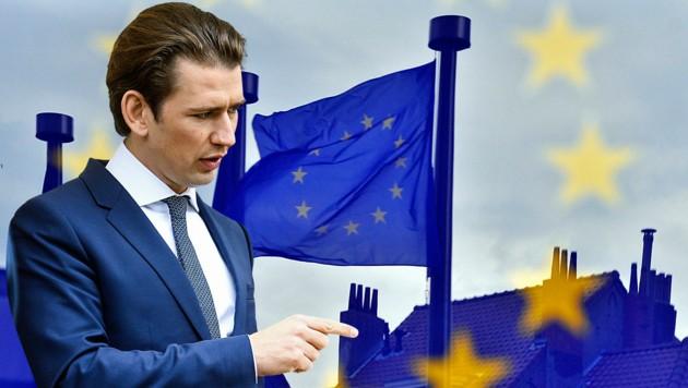 Bundeskanzler Sebastian Kurz steht vor harten Verhandlungen in Brüssel, schließlich geht es ums Geld. (Bild: APA/AFP/GEORGES GOBET, APA/BKA/ARNO MELICHAREK)