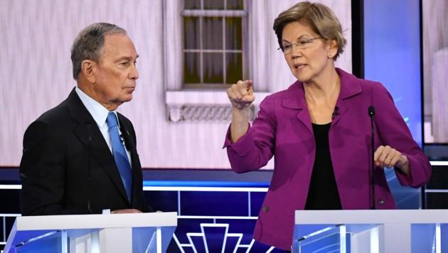Michael Bloomberg und Elizabeth Warren (Bild: AFP)