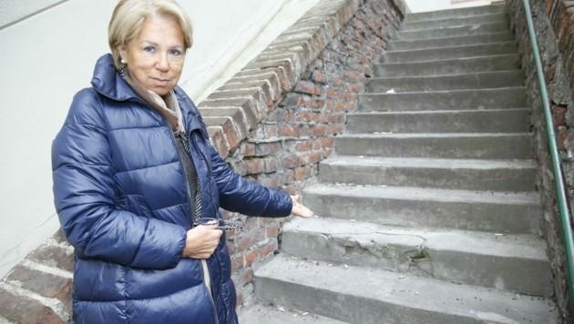 Brigitte Eichinger (li.) zeigt kaputte Stellen. (Bild: Holl Reinhard)