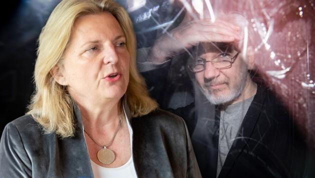 Ex-Außenministerin Karin Kneissl sieht genügend Beweise für eine Rehabilitierung von Julian Assange. (Bild: AP, APA/EXPA/JOHANN GRODER, krone.at-Grafik)