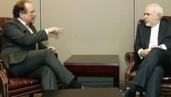 Außenminister Schallenberg und sein iranischer Amtskollege Zarif 2019 in der UNO-Generalversammlung (Bild: AUSSENMINISTERIUM/DRAGAN TATIC)