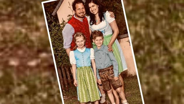 Familie Stocker aus Maria Rain in Kärnten: Papa Roland, der auch als Trainer agiert, Mama Christine und ihre beiden skisportbegeisterten Kinder Laura (10) und Luca (9). (Bild: Krone)