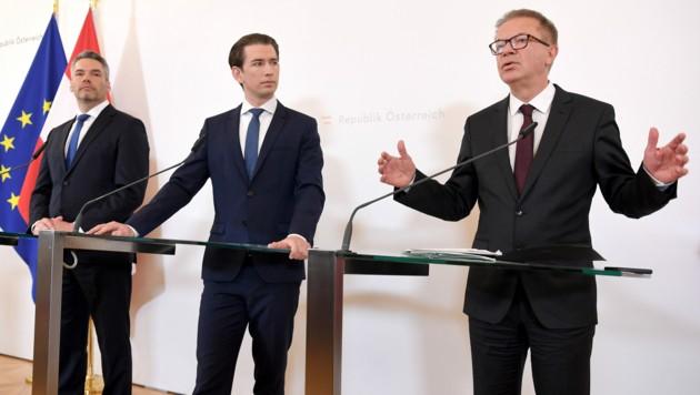 Innenminister Karl Nehammer, Bundeskanzler Sebastian Kurz und Gesundheitsminister Rudolf Anschober (Bild: APA/Roland Schlager)