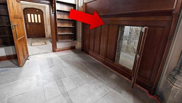 Die Tür zum Geheimgang (rechts) entdeckten Historiker während Renovierungsarbeiten. (Bild: APA/AFP/UK Parliament/Jessica Taylor, krone.at-Grafik)