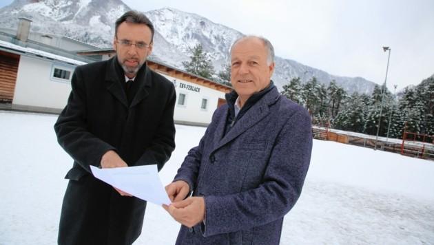 Auf dem Areal des ESV Ferlach wird die Ganzjahreseishalle mit Sporthotel entstehen. (Bild: Evelyn HronekKamerawerk)