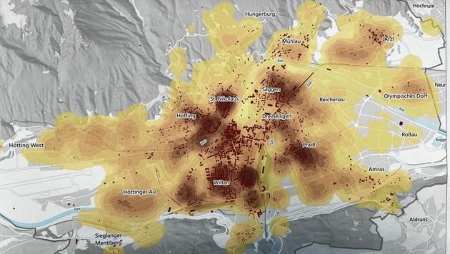 Dunkle Stellen sind Stadtteile mit hohem Wohnungsleerstand (Bild: Neuner Philipp)