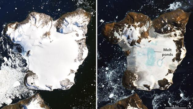 Satellitenbilder zeigen, dass die Eiskappe von Eagle Island von 4. bis 13. Februar geschmolzen ist. (Bild: NASA)