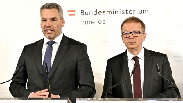 Innenminister Karl Nehammer, Sozialminister Rudolf Anschober (Bild: APA/HANS PUNZ)