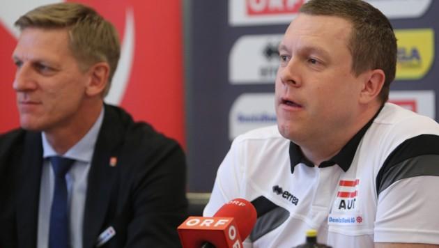 Radovan Gacic (rechts) und Gernot Leitner, Präsident des ÖVV (Bild: GEPA)