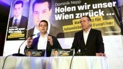 Der Wiener FPÖ-Chef Dominik Nepp und Wahlkampfleiter Harald Vilimsky (Bild: APA/HELMUT FOHRINGER)
