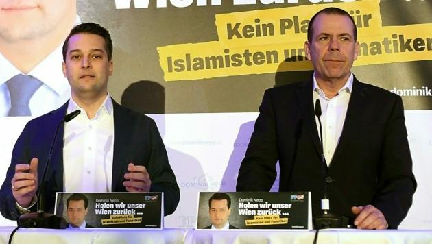 Wiens FPÖ-Chef Dominik Nepp und Wahlkampfleiter Harald Vilimsky (Bild: APA/Helmut Fohringer)