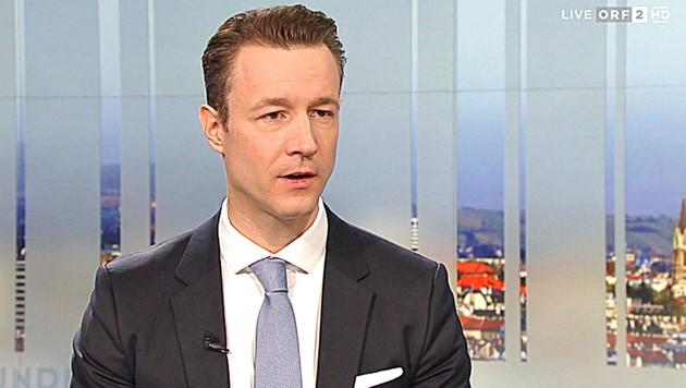 """Finanzminister Gernot Blümel (ÖVP) in der ORF-""""Pressestunde"""" (Bild: ORF)"""