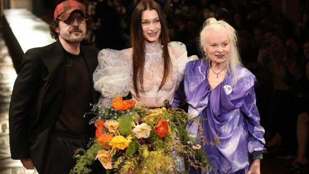 Andreas Kronthaler, Bella Hadid, Vivienne Westwood (Bild: AFP )