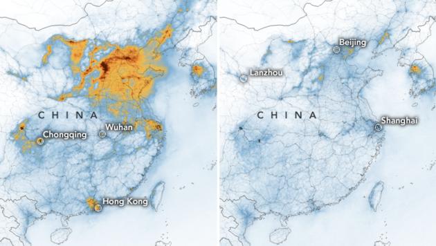 Laut NASA ist die Luftverschmutzung in China durch das Coronavirus zurückgegangen. (Bild: NASA)