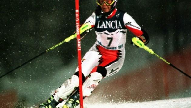 Anita Wachter (hier bei der WM 1997 in Sestriere) gewann am 30. November 1987 ihren ersten und einzigen Weltcup-Slalom. Es ist der bislang letzte Weltcup-Sieg einer Vorarlbergerin dieser Disziplin. (Bild: AP)