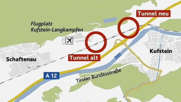"""Der linke Kreis markiert die alte Trassenvariante, der rechte die neue, die zu Lasten von rund 200 Bürgern gehen wird. (Bild: """"Krone""""-Grafik)"""