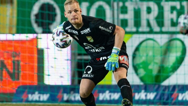 Traum vom Cup-Finale: Lustenau-Goalie Domenik Schierl aus St. Johann. (Bild: EXPA/ Peter Rinderer)