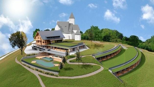 So wird das neue Hotel auf dem Magdalensberg aussehen. Die Hotelanlage wird begrünt. (Bild: Gipfelhaus Magdalensberg)