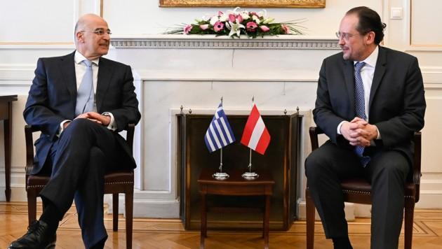 Der griechische Außenminister Nikos Dendias und sein österreichischer Amtskollege Alexander Schallenberg sprechen sich gegen weitere Hilfen für die Türkei aus. (Bild: AUSSENMINISTERIUM/MICHAEL GRUBER)