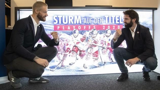 Eisbullen mit Muskeln: Tom Raffl und Dominique Heinrich (Bild: Tröster Andreas)
