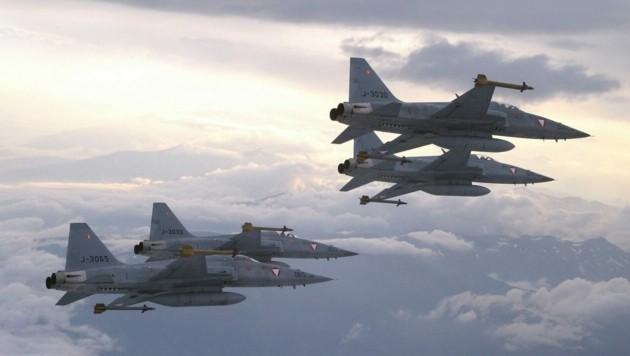 """Bald wieder am Himmel über Österreich? Gemietete F5-E """"Tiger"""" aus der Schweiz. (Bild: Bundesheer)"""