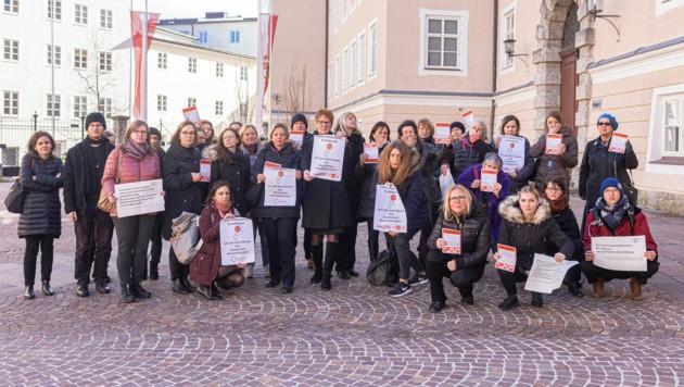 Proteste gegen die Ausschreibung der Frauenhäuser. (Bild: SPÖ/Arne Mueseler)