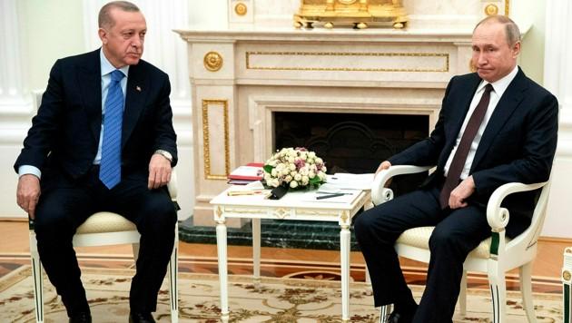 Die Präsidenten Recep Tayyip Erdogan und Wladimir Putin (Bild: AP)