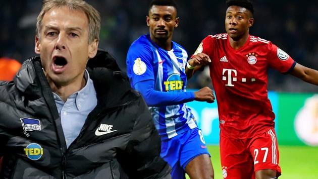 Salomon Kalou (Mitte; im Duell mit David Alaba) schießt gegen Jürgen Klinsmann (li.) (Bild: AFP, AP)