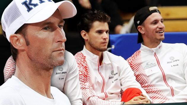 Wolfgang Thiem, Dominic Thiem und Dennis Novak (von li. nach re.) (Bild: GEPA)