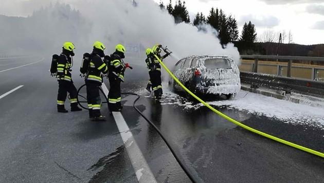 Feuerwehrleute bei der Brandbekämpfung (Bild: APA/FF LIGIST)