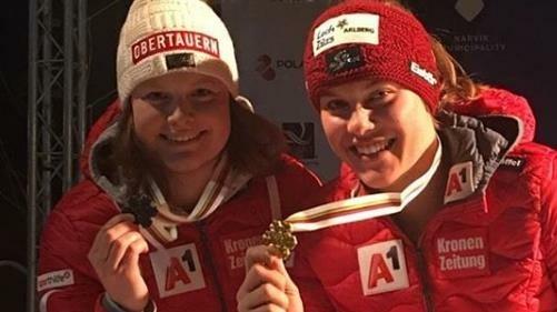 Dasselbe Siegerbild wie in der Abfahrt: Magdalena Egger (re./Vlbg.) gewann Super-G-Gold vor der Lungauerin Lisa Grill (li.). (Bild: Going for Gold Vorarlberger Skiverband)