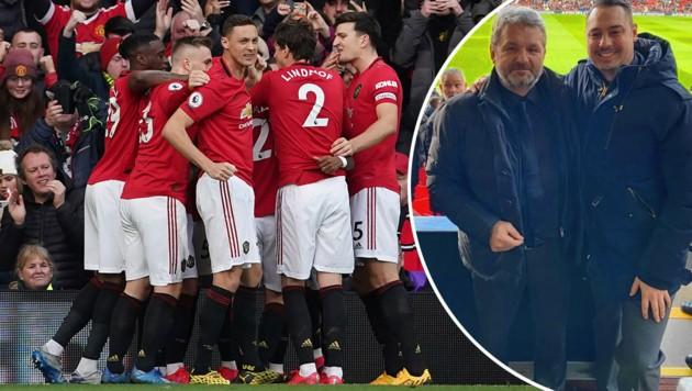 Jürgen Werner und Videoanalyst Dustin Heun (re.) waren in Old Trafford live dabei, als United einmal mehr jubeln durfte. (Bild: AP, zVg)