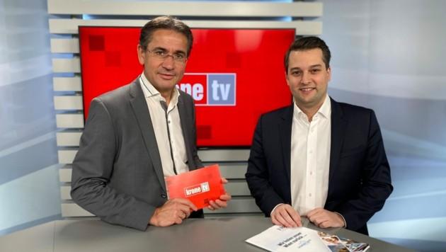 Gerhard Koller im Talk mit Dominik Nepp (Bild: krone.tv)